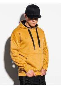 Ombre Clothing - Bluza męska z kapturem B1078 - musztardowa - XXL. Typ kołnierza: kaptur. Kolor: żółty. Materiał: poliester, bawełna