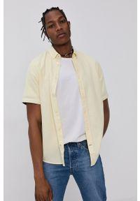 Tom Tailor - Koszula bawełniana. Kolor: żółty. Materiał: bawełna. Długość rękawa: krótki rękaw. Długość: krótkie. Wzór: gładki