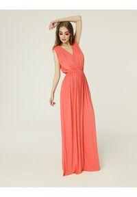 Madnezz - Sukienka Greta - koral. Kolor: pomarańczowy. Materiał: wiskoza, dzianina, elastan