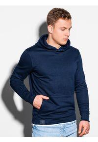 Ombre Clothing - Bluza męska z kapturem B1079 - granatowa - XXL. Typ kołnierza: kaptur. Kolor: niebieski. Materiał: poliester, bawełna