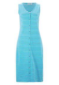 Sukienka midi z plisą guzikową bonprix niebieski karaibski - biały w paski. Typ kołnierza: dekolt w serek. Kolor: niebieski. Materiał: bawełna. Wzór: paski. Długość: midi