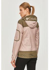 Różowa kurtka columbia krótka, na co dzień, z kapturem