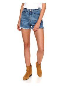 DRYWASH - Krótkie szorty damskie z przetarciami i surowymi zakończeniami. Kolor: niebieski. Materiał: tkanina, jeans. Długość: krótkie. Sezon: lato. Styl: wakacyjny, klasyczny