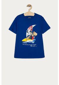 Niebieski t-shirt Polo Ralph Lauren na co dzień, z nadrukiem, casualowy