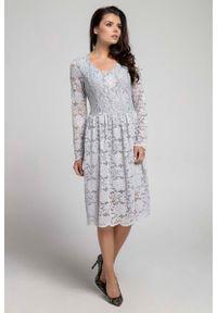 Szara sukienka wizytowa Nommo wizytowa, w koronkowe wzory