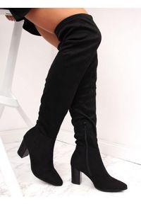 Czarny kozaki Vinceza z cholewką za kolano