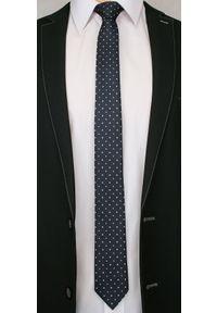 Alties - Ciemnogranatowy Elegancki Krawat Męski -ALTIES- 6 cm, w Biało-Szare Kropki, Groszki. Kolor: niebieski. Materiał: tkanina. Wzór: grochy. Styl: elegancki