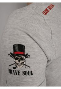 Szary t-shirt Brave Soul z nadrukiem, z krótkim rękawem, casualowy