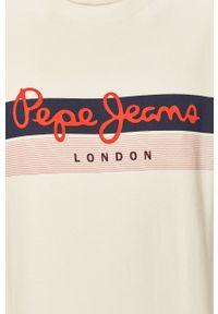 Pepe Jeans - Bluza bawełniana Elvin. Okazja: na co dzień. Kolor: biały. Materiał: bawełna. Wzór: nadruk. Styl: casual