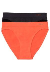 Figi bezszwowe Feel Comfort (2 pary) bonprix pomarańczowy + czarny. Kolor: pomarańczowy