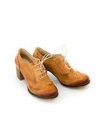 Zapato - sznurowane półbuty na 6 cm słupku - skóra naturalna - model 251 - kolor camelowy. Materiał: skóra. Obcas: na słupku