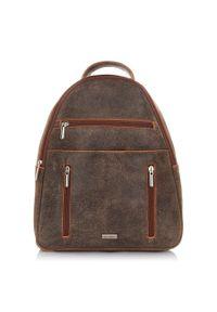 PAOLO PERUZZI - Plecak damski skórzany vintage brązowy Paolo Peruzzi X-06. Kolor: brązowy. Materiał: skóra. Styl: vintage