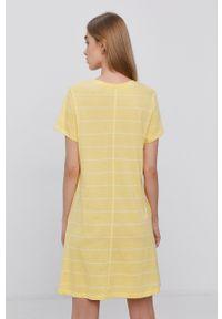 only - Only - Sukienka bawełniana. Kolor: żółty. Materiał: bawełna. Długość rękawa: krótki rękaw. Typ sukienki: rozkloszowane
