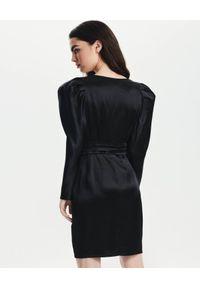 LOVLI SILK - Czarna mini sukienka z bufiastymi rękawami #NO.34. Kolor: czarny. Materiał: jedwab. Długość rękawa: długi rękaw. Długość: mini