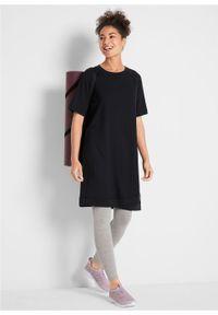 Sukienka dresowa, krótki rękaw bonprix czarny. Kolor: czarny. Materiał: dresówka. Długość rękawa: krótki rękaw
