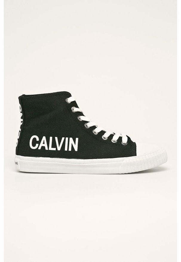 Czarne tenisówki Calvin Klein Jeans na średnim obcasie, na obcasie, na sznurówki