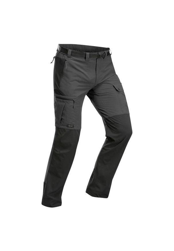 FORCLAZ - Spodnie trekkingowe - TREK 500 męskie. Kolor: szary, wielokolorowy, czarny. Materiał: elastan, poliester, materiał, poliamid