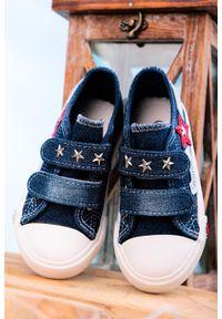Casu - granatowe trampki jeansowe na rzepy casu 204/28db. Zapięcie: rzepy. Kolor: niebieski. Materiał: jeans
