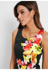 Zielona sukienka bonprix ołówkowa, w kwiaty, na wiosnę