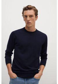 Niebieski sweter Mango Man z długim rękawem, z okrągłym kołnierzem, na co dzień