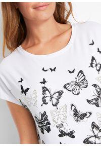 Biała bluzka bonprix z nadrukiem