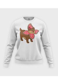 MegaKoszulki - Bluza klasyczna damska Uroczy Pies w przebraniu Demogorgona. Materiał: bawełna. Długość: długie. Wzór: nadruk. Styl: klasyczny