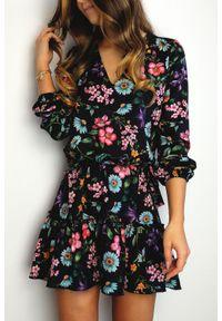 Czarna sukienka IVON boho, w kwiaty