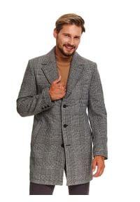 TOP SECRET - Klasyczny płaszcz w kratę z dodatkiem wełny. Kolor: szary. Materiał: wełna. Wzór: aplikacja. Sezon: wiosna. Styl: klasyczny