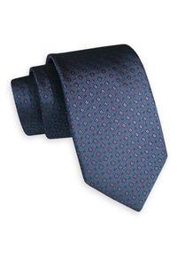 Niebieski krawat Angelo di Monti klasyczny, w geometryczne wzory