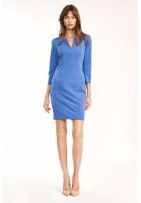 Nife - Dopasowana Mini Sukienka z Rozcięciem przy Dekolcie - Niebieska. Kolor: niebieski. Materiał: wiskoza, poliester. Długość: mini