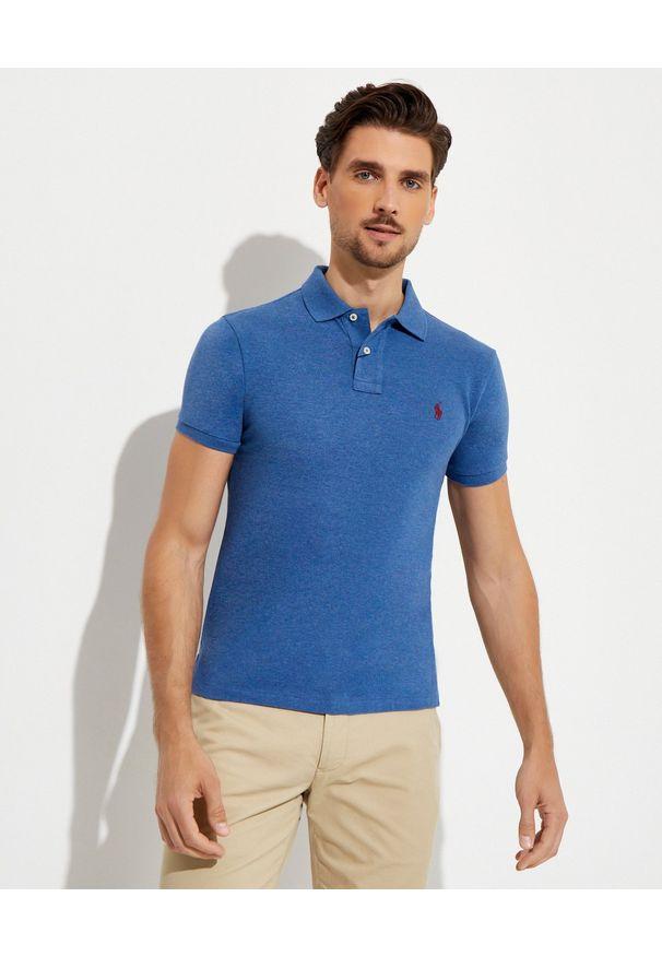 Ralph Lauren - RALPH LAUREN - Niebieska koszulka polo Slim Fit Mesh. Typ kołnierza: polo. Kolor: niebieski. Materiał: mesh. Długość: długie. Wzór: haft, ze splotem