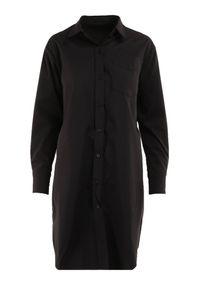 Born2be - Czarna Sukienka Euranes. Kolor: czarny. Materiał: bawełna, tkanina. Długość rękawa: długi rękaw. Wzór: aplikacja. Typ sukienki: koszulowe, dopasowane. Długość: mini