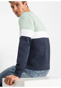 Bluza z bawełny organicznej bonprix kryształowy miętowy - biały - ciemnoniebieski. Kolor: zielony. Materiał: materiał, bawełna. Wzór: nadruk