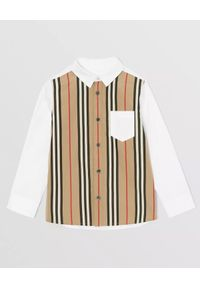 BURBERRY CHILDREN - Dwukolorowa koszula z bawełny 4-14 lat. Kolor: biały. Materiał: bawełna. Sezon: lato. Styl: klasyczny