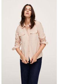 mango - Mango - Koszula bawełniana Paris. Okazja: na co dzień. Kolor: różowy. Materiał: bawełna. Długość rękawa: długi rękaw. Długość: długie. Styl: casual