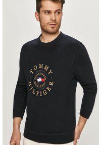 TOMMY HILFIGER - Tommy Hilfiger - Sweter. Okazja: na co dzień. Kolor: niebieski. Materiał: bawełna. Długość rękawa: długi rękaw. Długość: długie. Wzór: aplikacja. Styl: casual