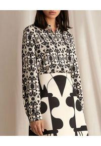 Marella - MARELLA - Wzorzysta koszula Marasca. Kolor: czarny. Materiał: tkanina, satyna. Długość rękawa: długi rękaw. Długość: długie. Wzór: geometria, nadruk
