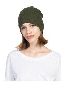 ROBERT KUPISZ - Zielona czapka FOREVER BEANIE. Kolor: zielony. Materiał: wełna. Wzór: aplikacja