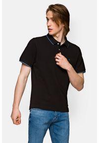 Lancerto - Koszulka Czarna Polo Dominic. Typ kołnierza: polo. Kolor: czarny. Materiał: włókno, tkanina, materiał, bawełna. Długość rękawa: krótki rękaw. Wzór: ze splotem. Styl: klasyczny
