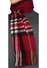 Czerwony szalik V. Fraas w kratkę, klasyczny, na jesień
