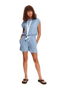 DRYWASH - Krótkie spodenki damskie z taśmą w pasie. Kolor: niebieski. Materiał: dzianina. Długość: krótkie. Sezon: lato. Styl: wakacyjny