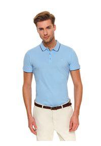 Niebieski t-shirt TOP SECRET casualowy, krótki, na co dzień, polo