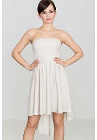 Beżowa sukienka Katrus z odkrytymi ramionami