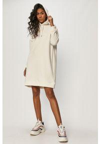 Biała sukienka Fila na co dzień, z kapturem, gładkie
