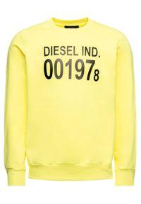 Diesel Bluza S-Girk-J3 00SDPY 0IAJH Żółty Regular Fit. Kolor: żółty
