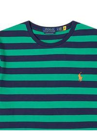 Ralph Lauren - RALPH LAUREN - Zielony t-shirt w paski Slim Fit. Typ kołnierza: polo. Kolor: zielony. Materiał: bawełna. Wzór: paski