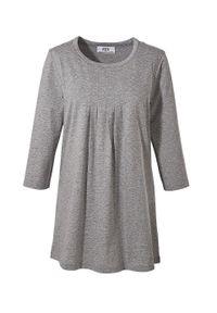 Długi shirt, rękawy 3/4 bonprix jasnoszary melanż. Kolor: szary. Długość: długie. Wzór: melanż