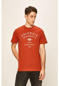 Czerwony t-shirt columbia z nadrukiem, na co dzień, casualowy