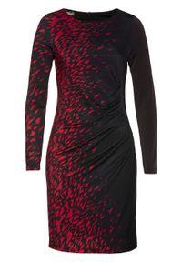 Czarna sukienka bonprix z nadrukiem, elegancka