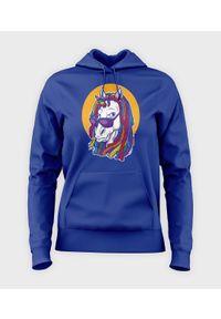 MegaKoszulki - Bluza damska z kapturem Rainbow unicorn. Typ kołnierza: kaptur